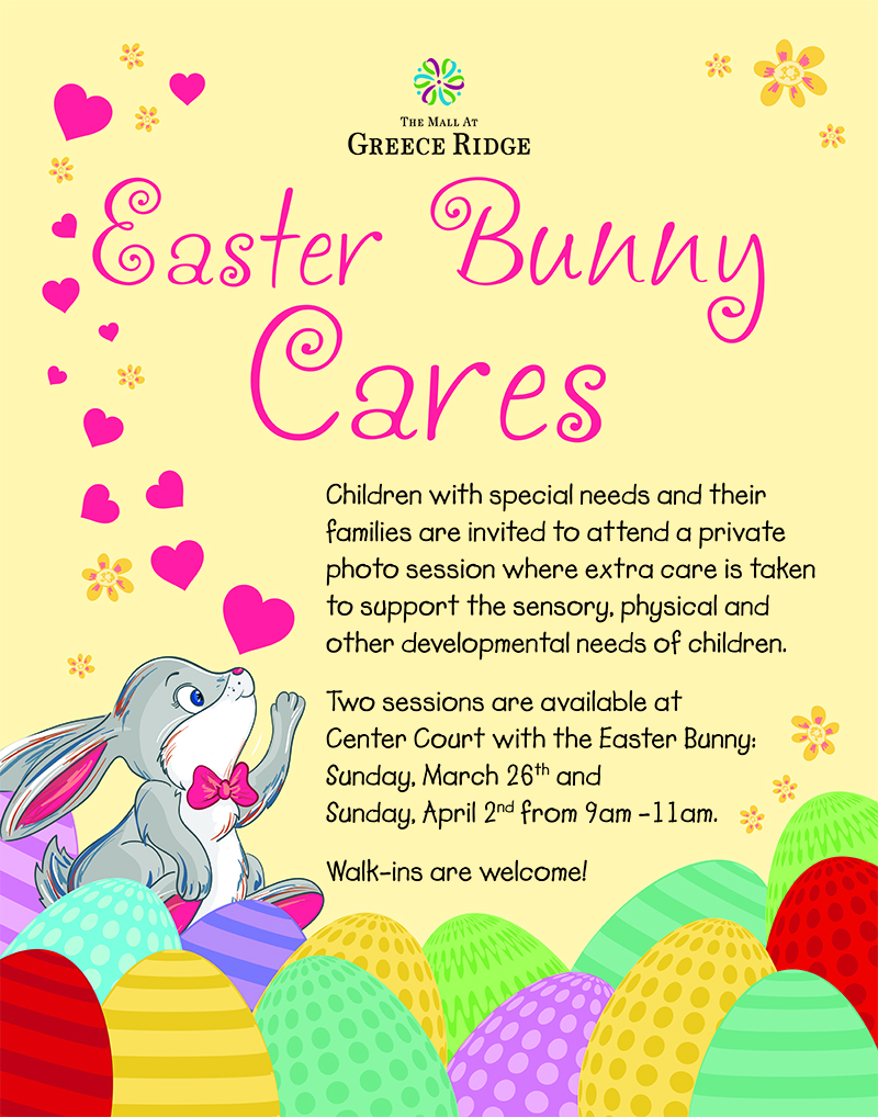 Easter bunny cares at the mall greece ridge kids out