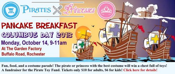 Columbus Day Pancake Breakfast At The Garden Factory To Benefit The Pirate Toy Fund Kids Out